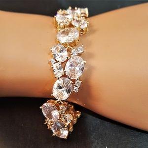 Jewelry - Bridal Oval Gold Plated CZ Bracelet B-101